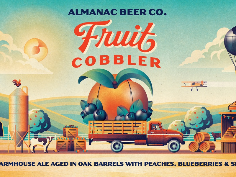 Almanac Beer Co. Fruit Cobbler trees place barrel crate sun farm truck almanac beer geometric dkng studios vector dkng nathan goldman dan kuhlken