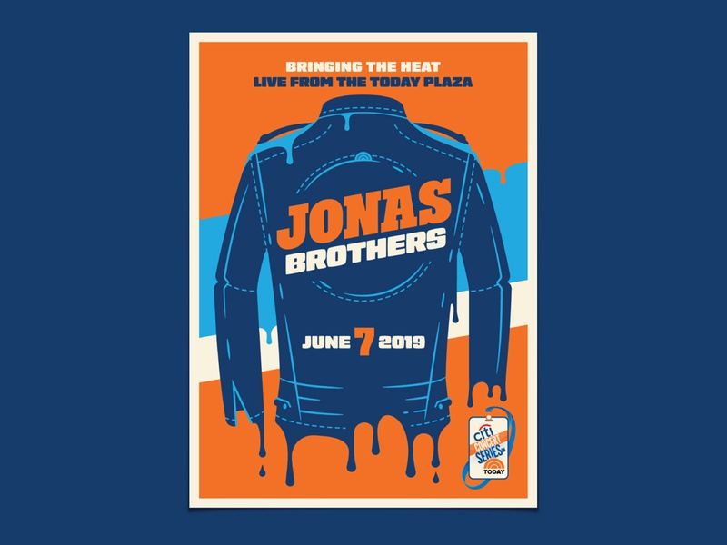 Jonas Brothers jonas brothers today dripping melting leather jacket jacket illustration dkng studios poster vector dkng nathan goldman dan kuhlken