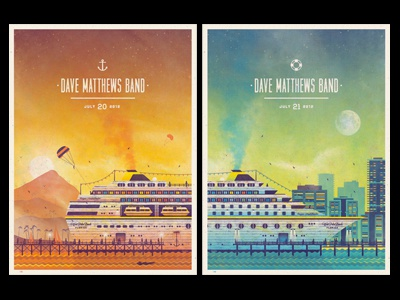 Dave Matthews Band // West Palm Beach, FL Poster Series florida city mountains island water beach ocean moon sun sunset sunrise poster diptych gig dan kuhlken nathan goldman dkng dave matthews band cruise ship west palm beach screen print