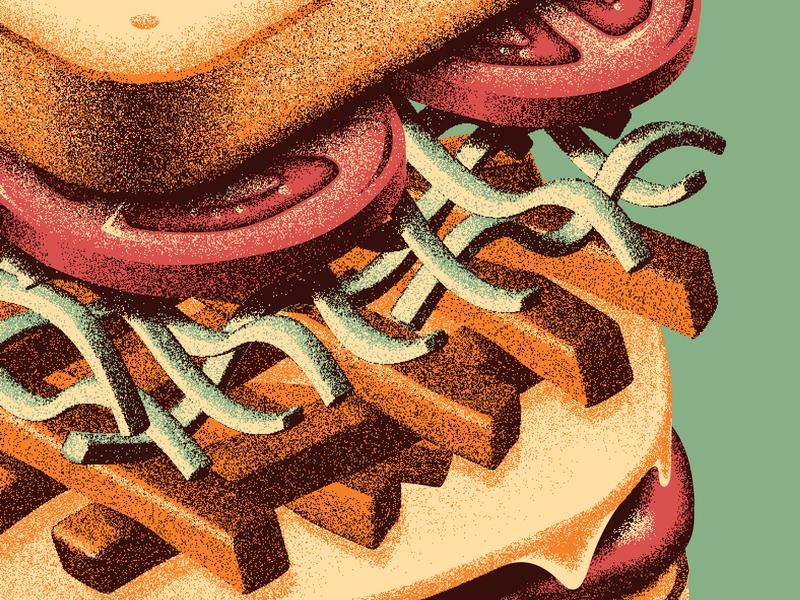 Mystery Project 93 grainy grain sandwich design texture illustration silkscreen screen print dkng studios poster vector dkng nathan goldman dan kuhlken
