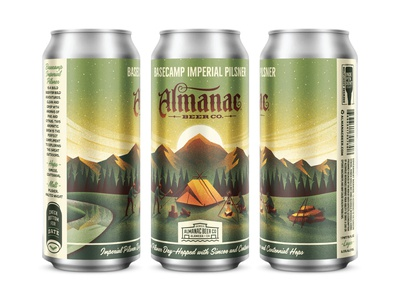 Basecamp Imperial Pilsner campfire sun river trees mountain can beer tent camping camp illustration dkng studios vector dkng nathan goldman dan kuhlken
