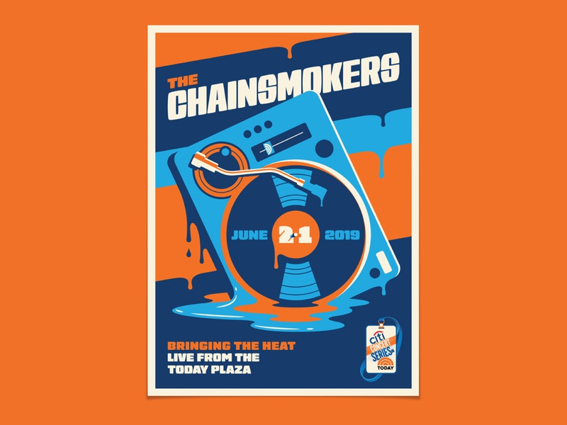 The Chainsmokers drip dripping melting turntable dj chainsmokers new york illustration geometric dkng studios poster vector dkng nathan goldman dan kuhlken