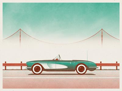 San Francisco Art Print dkng car bridge teal red chevy corvette silkscreen dan kuhlken nathan goldman san francisco golden gate bridge screen print