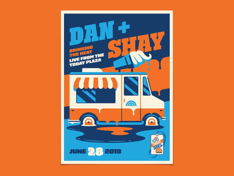 Dan and Shay today dripping melting summer ice cream truck icecream design illustration geometric dkng studios poster vector dkng nathan goldman dan kuhlken