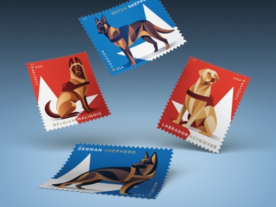USPS Military Working Dogs Stamps philately post office star dutch shepherd labrador retriever belgian malinois german shepherd dogs dog stamps stamp usps design illustration vector dkng nathan goldman dan kuhlken