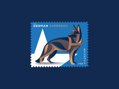 German Shepherd philately usps military dog military dog german shepherd stamp design illustration geometric dkng studios vector dkng nathan goldman dan kuhlken