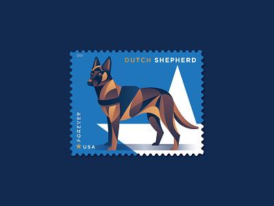 Dutch Shepherd dutch shepherd star postage usps philately stamp military dogs dog design illustration geometric dkng studios vector dkng nathan goldman dan kuhlken