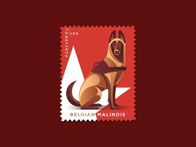 Belgian Malinois postage usps philately stamp star belgian malinois dogs dog illustration geometric dkng studios vector dkng nathan goldman dan kuhlken