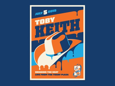 Toby Keith melt drip dripping melting country toby keith cowboy hat cowboy design illustration dkng studios poster vector dkng nathan goldman dan kuhlken