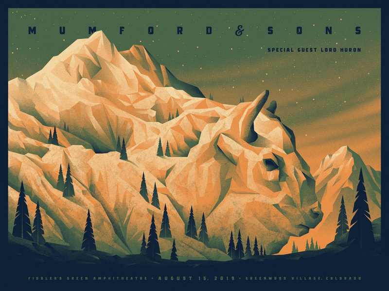 Mumford & Sons Colorado Poster sky trees tree landscape mountains mountain colorado mumford and sons illustration silkscreen screen print geometric dkng studios poster vector dkng nathan goldman dan kuhlken