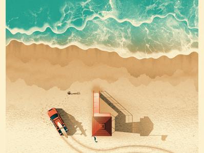 The National Greek Theatre L.A. Poster the national los angeles stingray lifeguard ocean beach texture illustration screen print silkscreen dkng studios poster dkng vector nathan goldman dan kuhlken