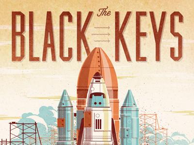 Black Keys // Pheonix, AZ Poster dkng vector rocket shuttle phoenix clouds sky scaffolding poster silkscreen print dan kuhlken nathan goldman black keys screen print