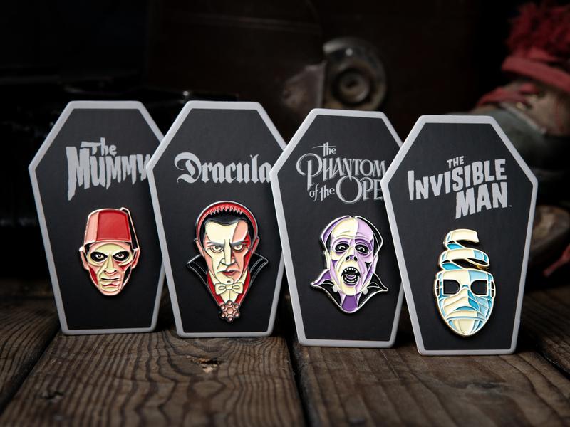 Happy Halloween! phantom of the opera mummy invisible man dracula frankenstein enamel pin pin badge dkng studios dkng nathan goldman dan kuhlken