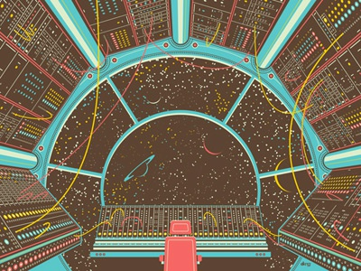 Moog Inspired Art Goes Galactic moog moogfest space cockpit synthesizers chair cords wires buttons dkng print silkscreen poster dan kuhlken nathan goldman screen print art print