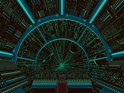 Moog 2012 (glowing in the dark!) moog moogfest space cockpit synthesizers chair cords wires buttons dkng print silkscreen poster dan kuhlken nathan goldman screen print art print