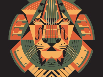 Mystery Project 36.2 dkng vector lion face trumpet piano drums violin guitar bass geometric polygon dan kuhlken
