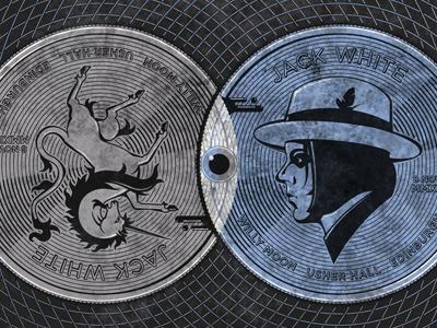 Jack White // Edinburgh, UK Poster dkng vector texture poster silkscreen gig edinburgh unicorn coin eye dan kuhlken nathan goldman screen print jack white venn diagram
