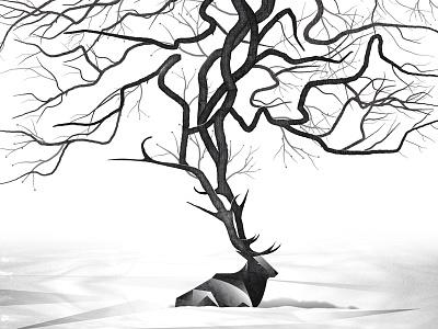 Mystery Project 37.2 dkng vector deer elk tree snow polygon geometric dan kuhlken nathan goldman
