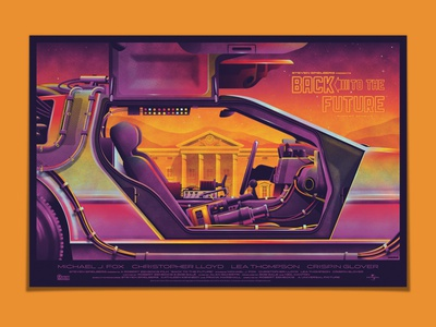 DKNG at Designer Con 2019 (Booth #2219) delorean back to the future texture illustration silkscreen screen print poster dkng studios vector dkng nathan goldman dan kuhlken