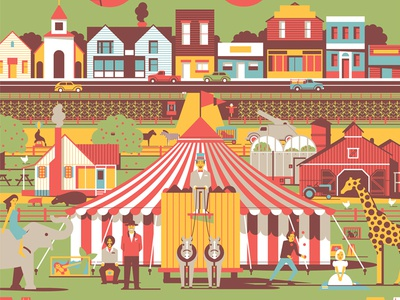 Big Top Pee-wee dkng mondo poster screenprint pee-wee circus tent movie film elephant giraffe farm town dan kuhlken nathan goldman