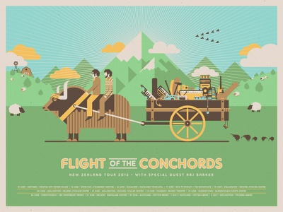 Flight of the Conchords (New Zealand Tour) dkng vector fotc mountains grass field yak wagon clouds kiwi sheep poster screeprint silkscreen dan kuhlken nathan goldman flight of the conchords
