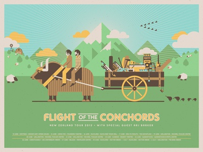 Flight of the Conchords (New Zealand Tour) dkng vector fotc mountains grass field yak wagon clouds kiwi sheep poster screeprint silkscreen dan kuhlken nathan goldman flight of the conchords