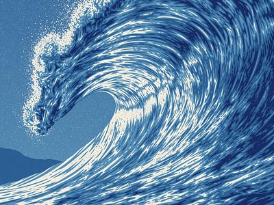 Wave One Art Print swell ocean wave texture silkscreen screen print poster dkng studios vector dkng nathan goldman dan kuhlken