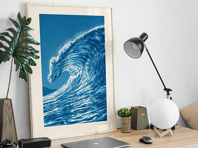 Wave One Art Print beach ocean barrel swell wave illustration screen print poster dkng studios vector dkng nathan goldman dan kuhlken