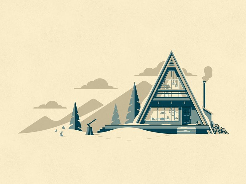 Cabin Series a-frame geodesic dome beach house beach winter cabin illustration silkscreen screen print geometric poster dkng studios vector dkng nathan goldman dan kuhlken
