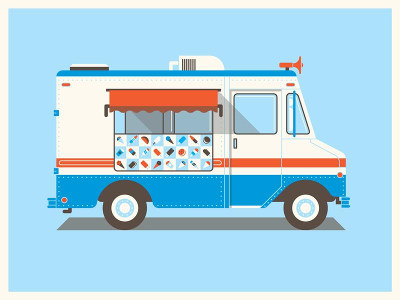 Mystery Project 29.1 dkng vector truck poster silkscreen screenprint dan kuhlken nathan goldman ice cream