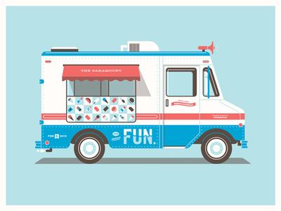 Fun's Seattle Ice Cream Truck dkng vector truck fun poster silkscreen screenprint seattle dan kuhlken nathan goldman ice cream