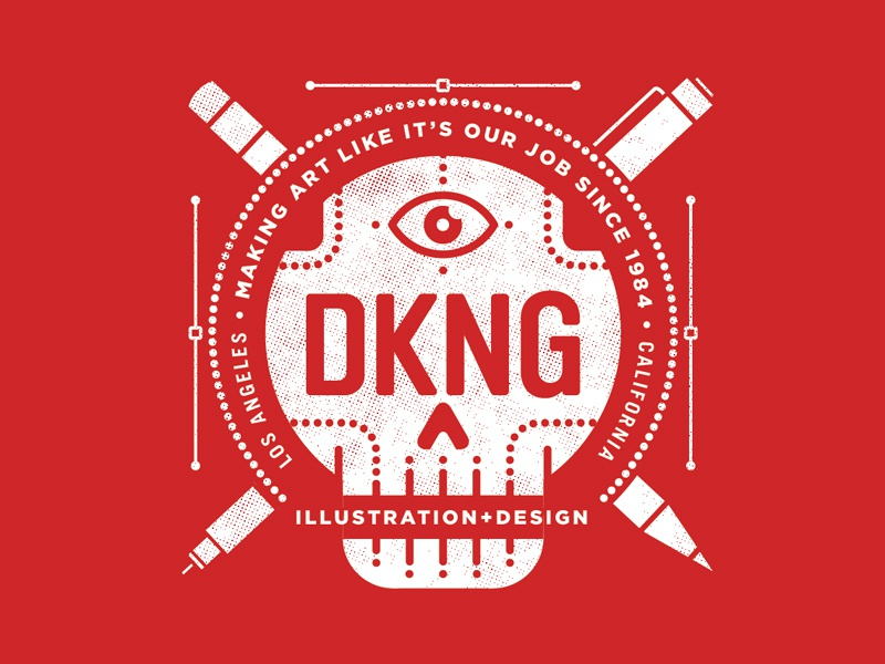 New DKNG Shirt (revised) dkng vector nodes skull pen pencil micron typography logo eye nathan goldman dan kuhlken illustration design bezier