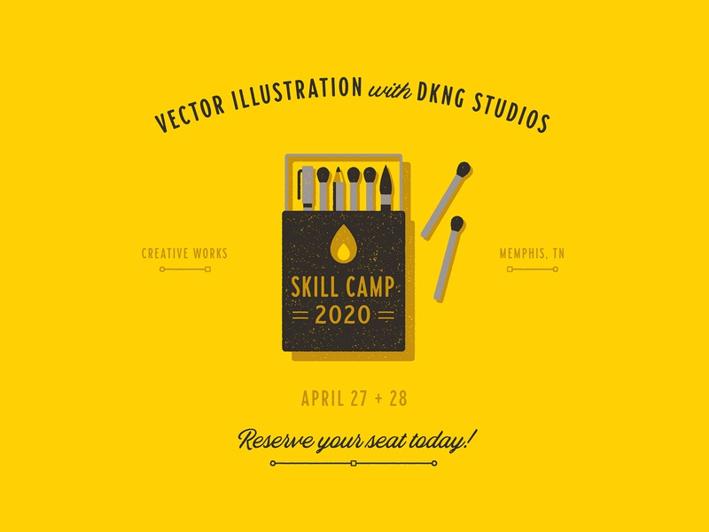 Creative Works Skill Camp 2020 creative works memphis pencil pen matches matchbook camping camp illustration texture icon dkng studios dkng vector nathan goldman dan kuhlken