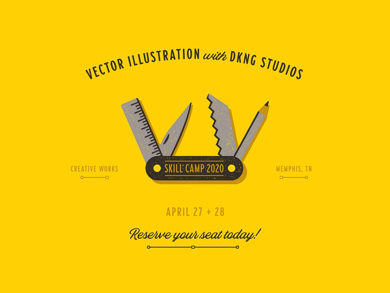 Creative Works Skill Camp 2020 skill camp creative works memphis pencil ruler camping swiss army knife knife icon geometric dkng studios vector dkng nathan goldman dan kuhlken