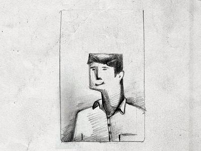 Man on ID Card sketch pencil line drawing design