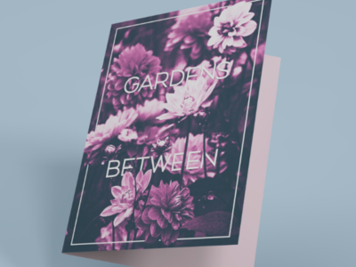 Greeting card concept print polygraphy card mockup violet purple flower greeting card flowers