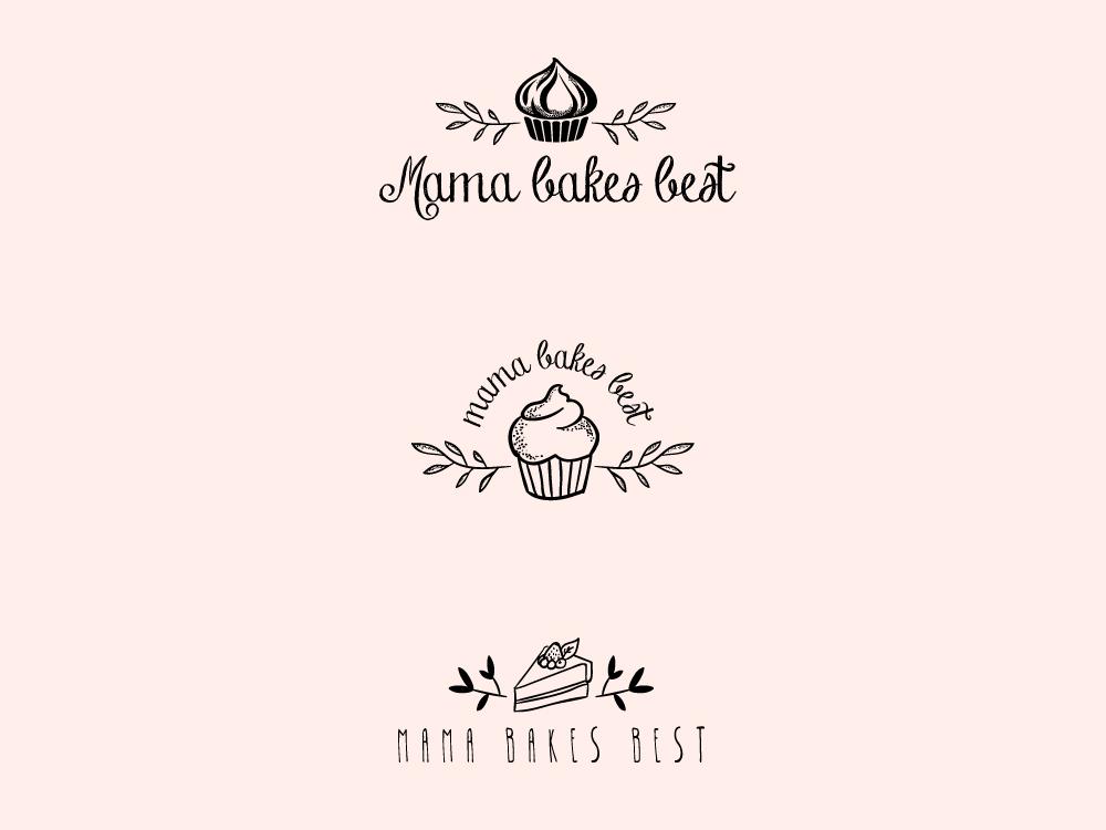 Mama Bakes Best plants cake cupcake instagram logo design sweets bakery design illustration adobe illustrator vector logo