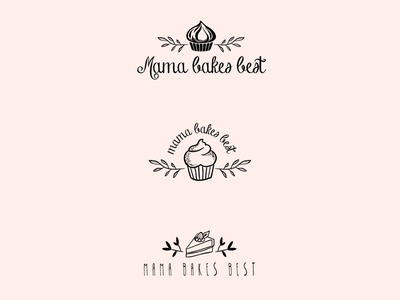 Mama Bakes Best plants cake cupcake instagram logo design sweets bakery design illustration adobe illustrator vector logo