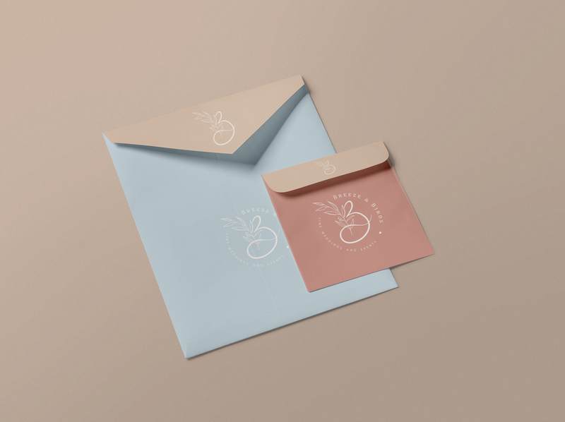 Breeze & Birds wedding studio envelopes vector logo design adobe illustrator adobe photoshop wedding studio envelope design
