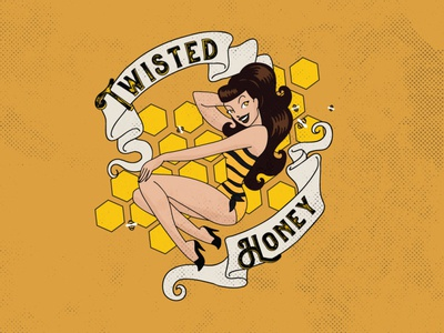Twisted Honey Tequila Label beverage design label design vintage adobe illustrator design vector logo