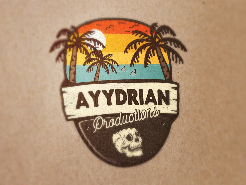 Ayydrian Productions Logo badge logo skull vibes california vibes sun logo design branding design logo vector adobe illustrator