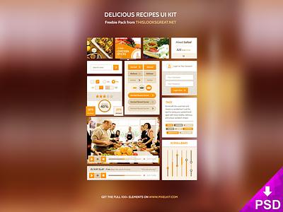 Delicious Recipe UI Kit psd freebie free kit ui recipe delicious