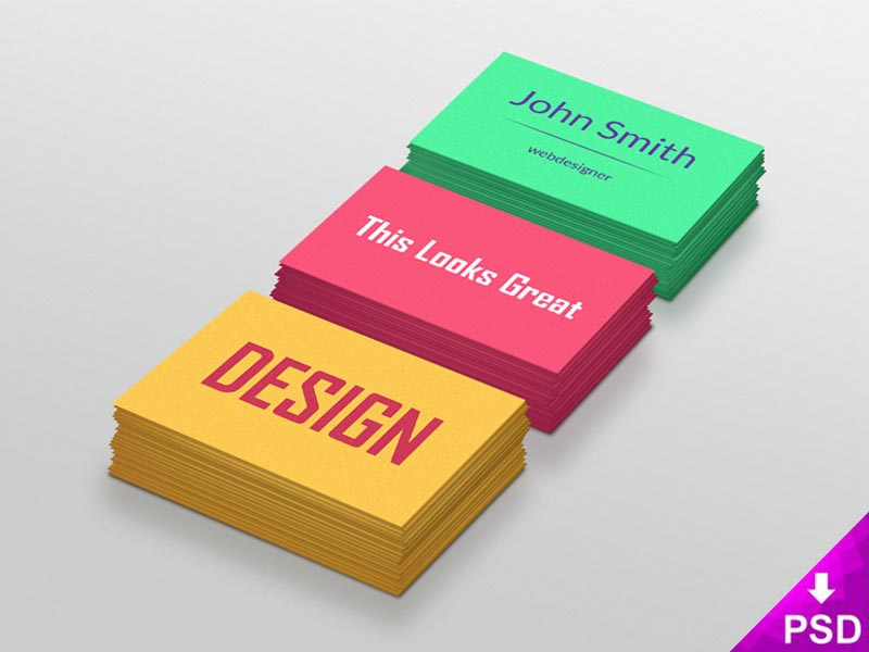 Colorful Business Cards yellow resource psd graphic freebie free download design colorful color cards business