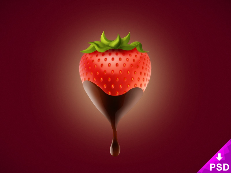 Chocolate Covered Strawberry PSD freeforuse new strawberry resource psd freebie free food download covered chocolate