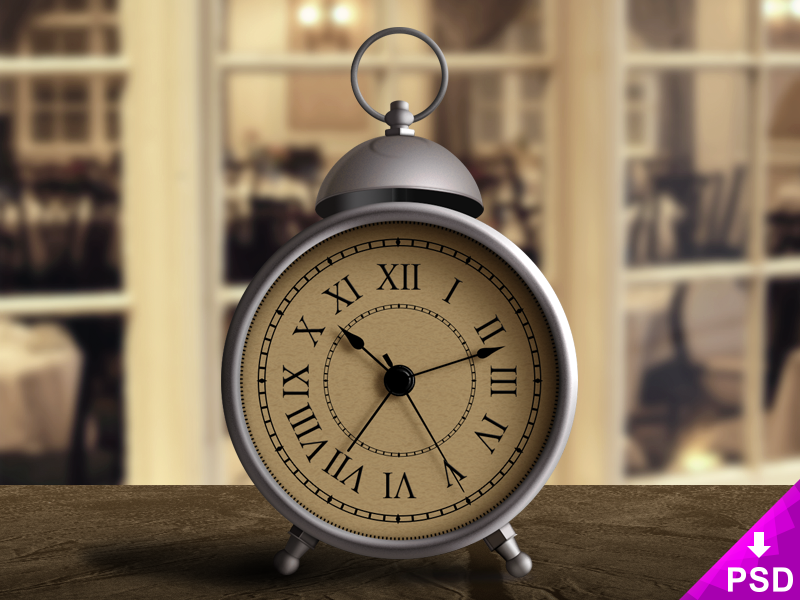 Vintage Alarm Clock design photoshop psd freebie free new style clock alarm vintage