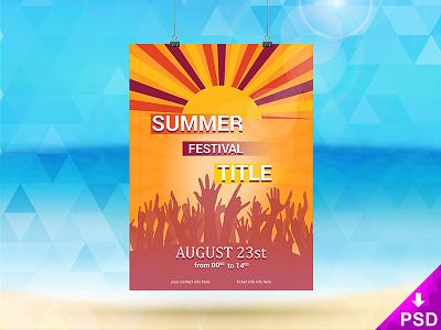 Summer Festival Flyer  resource photoshop psd new download free mockup festival flyer summer