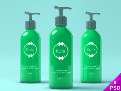 Cosmetic Dispensers Mock-up design photoshop psd freebie free cosmetic green bottles dispensers plastic
