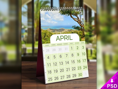 Calendar Mock-up design photoshop psd freebie free new mock-up text desk calendar