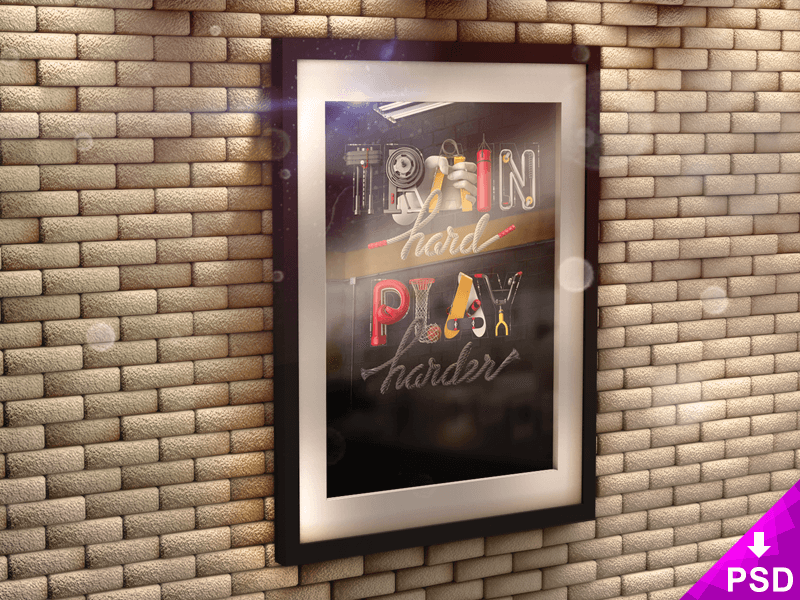Poster in 3D Frame on Brick Wall Mock-up realistic poster brick mockup download photoshop psd new freebie free 3d wall