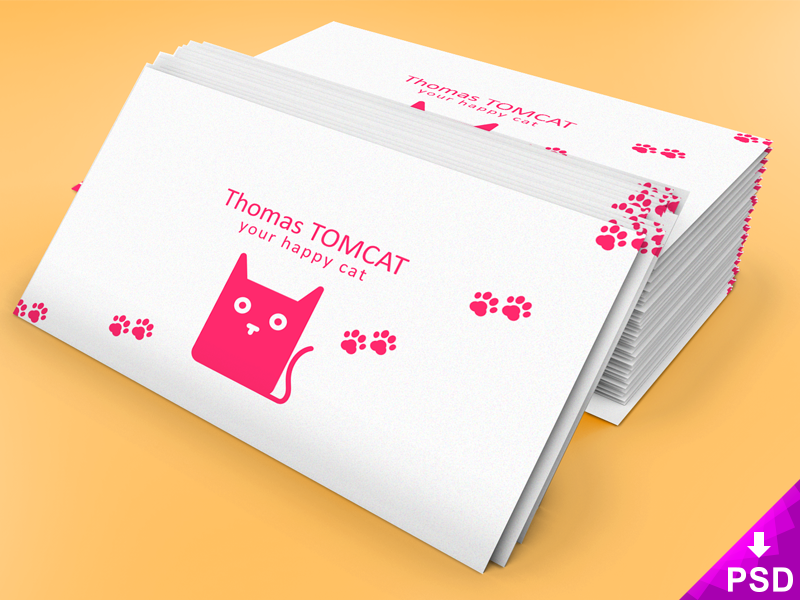 Business Card Stack Mock-up stack card resource photoshop psd download free mockup business cat pink